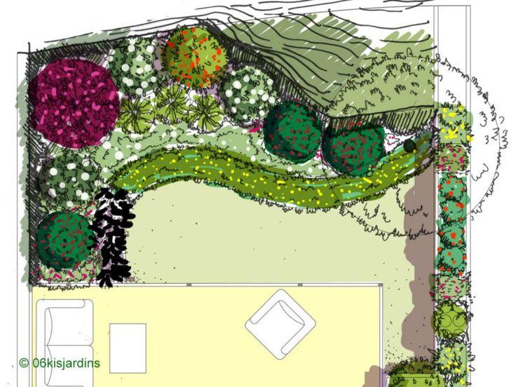 Concpetion jardin à l'ombre / esquisse paysagère