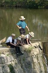Amish boys fishing
