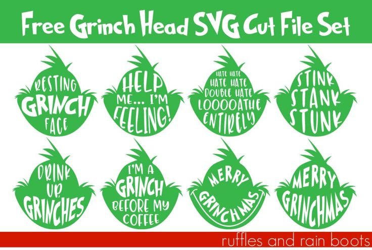 Download Eight Free Grinch Head SVG for Christmas Crafts and Fun ...
