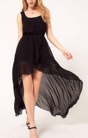 Black High-low Hem Sleeveless Chiffon Dress
