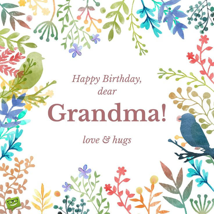 Happy Birthday dear grandma.  Love and hugs.  In a frame of hand drawn flowers. – Birthday Wishes Expert