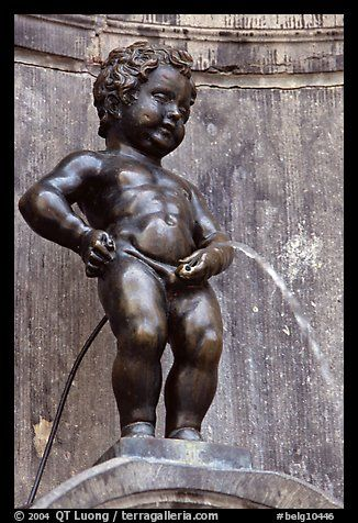 "Brussels, Belgium:  Lived from 1980-1985 The famous statue ""Manneken Pis"" on the Grand Place"