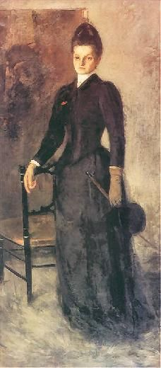 Olga Boznańska   Amazonka - portret siostry / Horsewoman - Artist's sister portrait, oil on canvas, 1891, Muzeum Narodowe, Kielce