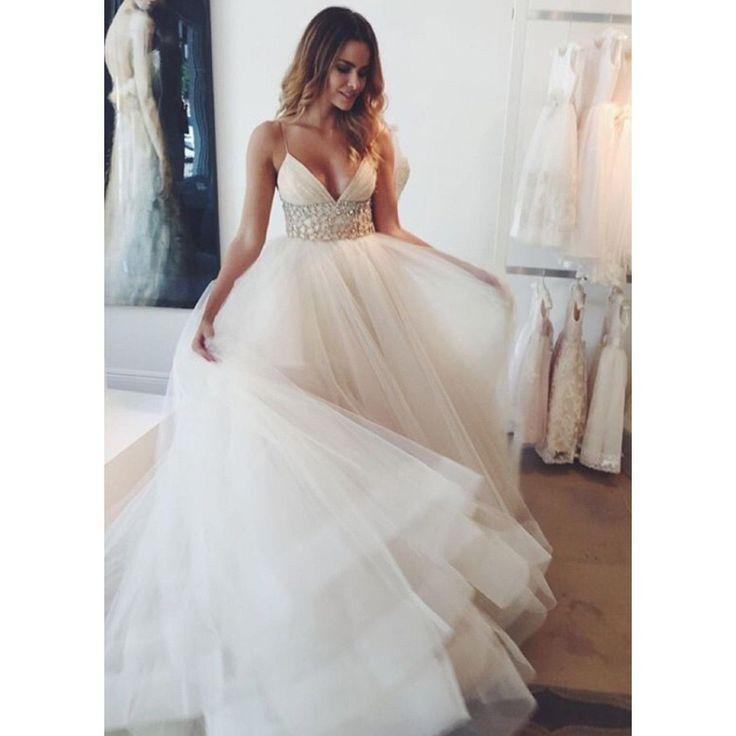 Sexy Spaghetti Straps Wedding Dresses Waist with Beaded
