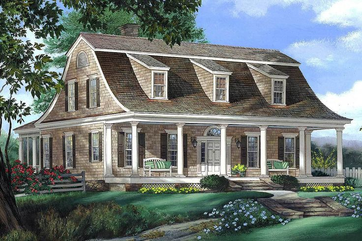 Gambrel House Plan with 2 Stairs - 32629WP - 01