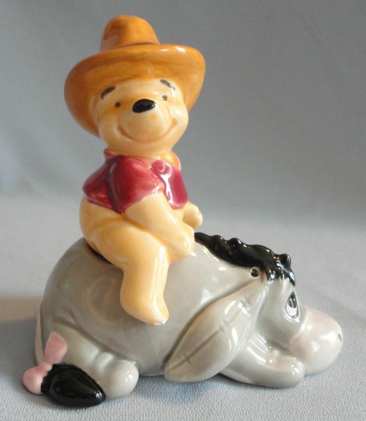 Cowboy Winnie The Pooh Riding Eeyore Ceramic Salt Pepper Shakers Disney!