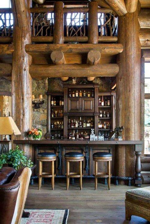 Residential Bar In Log Home.