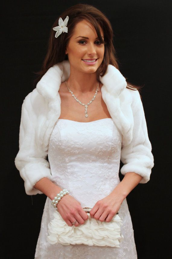 White Faux Fur Bridal Jacket by TionDesign on Etsy, $69.99