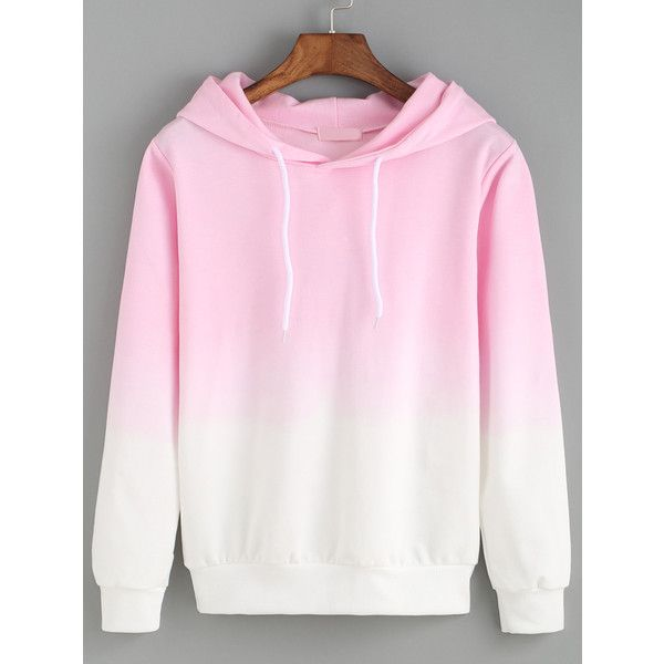 Hooded Pink Ombre Loose Sweatshirt (£8.56) ❤ liked on Polyvore featuring tops, hoodies, sweatshirts, pink, pullover sweatshirts, pullover hoodies, hooded sweat shirt, sweatshirts hoodies и hooded sweatshirt