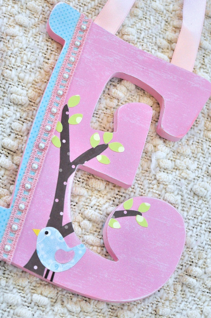 Custom letters baby name sign- Pottery Barn Kids Hayley Bedding- nursery decor- hanging wooden letters- any color and theme. $16.75, via Etsy.  --This one is perfect for Baby Girl!!! --different letter of course.