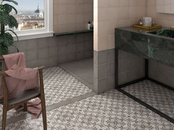 Art Nouveau Grey, Coral Pink, La Rambla Grey 20x20 cm.