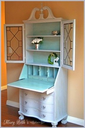 """Hometalk :: Repainted Secretary Desk I have the twin to the bottom section, but haven't been able to find a topper. Not a huge fan of painting over good wood, but maybe I'll just refinish it in my """"free"""" time, after the garden  is ready for spring and  th"""