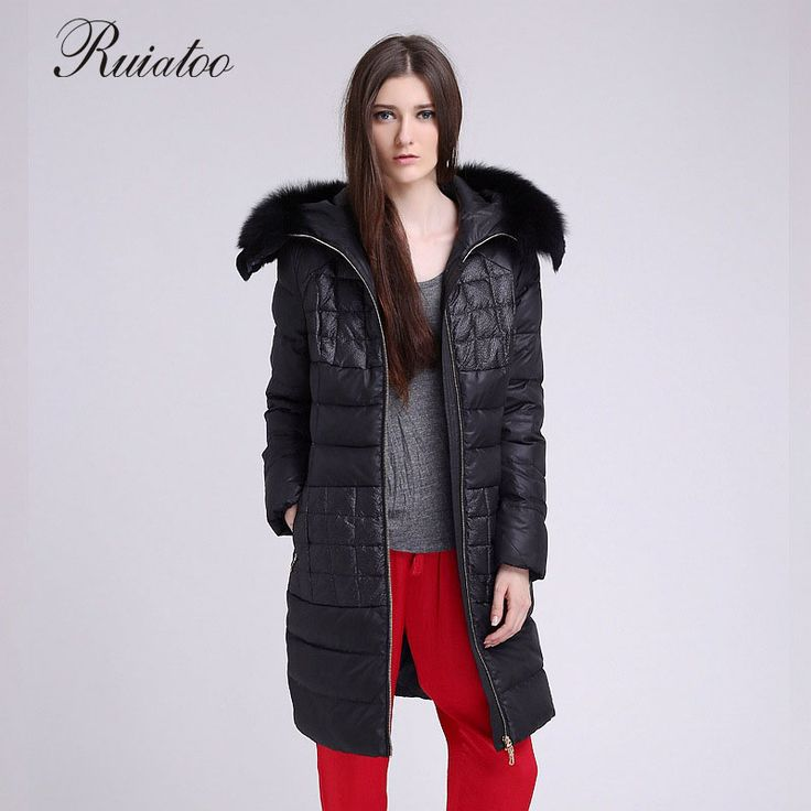 Europe and the United States Code 2017 winter female fox fur coat hooded long down jacket blouse plus pocket size: l-4xl