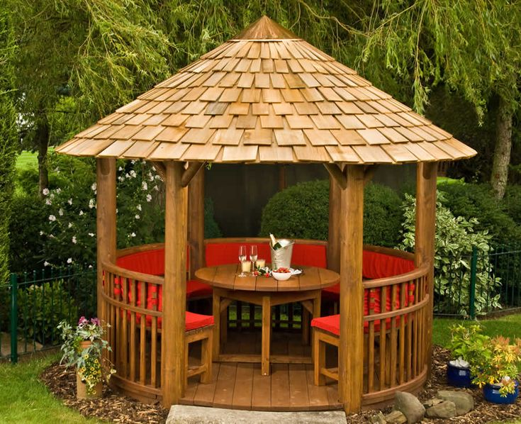 Modern circular wooden gazebos circular wooden gazebos for Garden hut sale