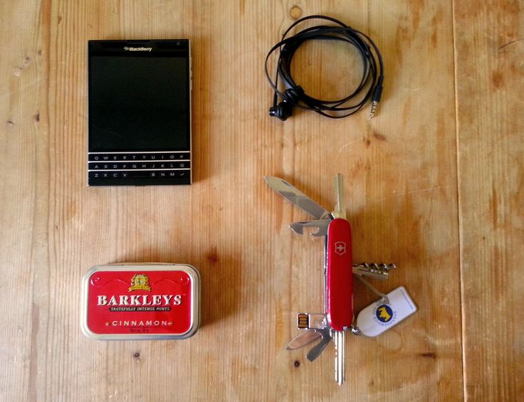 EDC - EveryDay Carry  BlackBerry Passport with headphones.  Barkleys Tin Content: Stamps in different values, postage table, bus/tram timetable, letter, papper, notepad, foil, money (bills and coins), band-aid, antiseptic towel, metal sheets, toothbrush, 2 batteries,electrical tapes, needles and thread, cotton swabs, BIC lighter, gum, fishing hook and thread, rubber bands, etc  Jack-Knife Hack inspired by Van Neistat. USB, three keys and all the climber tools. Jack-Knife, Hack, Swiss army…
