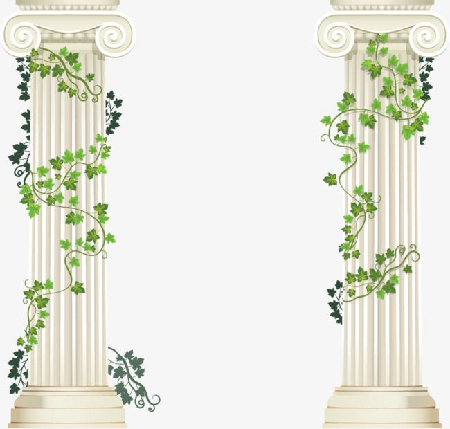 Vector Hand Painted Pillars And Flower Vine In 2019