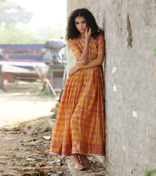 mustard chanderi gown by KharaKapas on Etsy