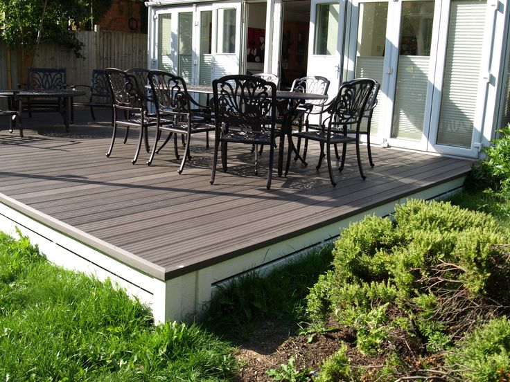 Fensys natural plastic composite deck board has a 60% timber 40% polymer mix. The polymer contents extends the life of the decking whilst need no treatment only the occasional clean with soapy water