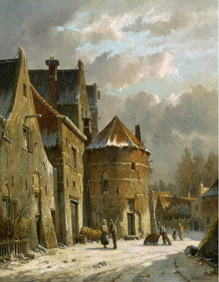 Villagers in a snowy street Eversen, Adrianus Painting Reproductions