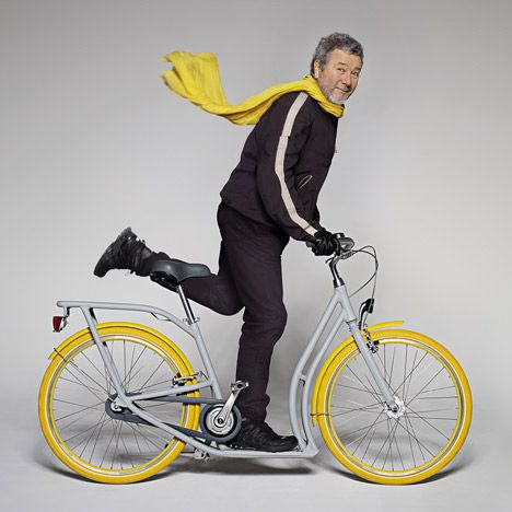 """""""French designer Philippe Starck and car company Peugeot have unveiled a prototype bicycle crossed with a scooter, designed for a free cycle scheme in Bordeaux, France.""""-http://www.dezeen.com/2013/02/28/pibal-bicycle-by-philippe-starck-and-peugeot/"""