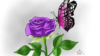 autodesk Sketchbook pro speed painting butterfly rose flower