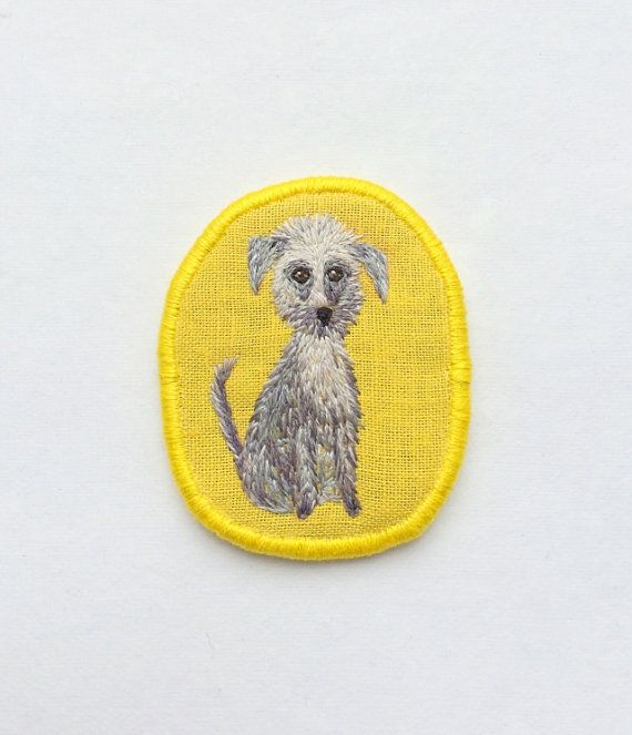 Textile dog brooch terrier puppy quot funny dogs