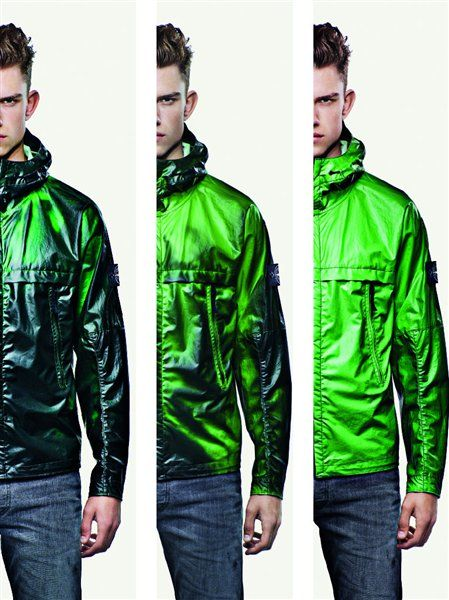 Smart textiles Heat Reactive Jacket by Stone Island, a tracksuit top which changes colour from black to green/ blue once it has reached 27 degrees. The fabric that is cotton nylon with thermosentive liquid crystals that react to heat.