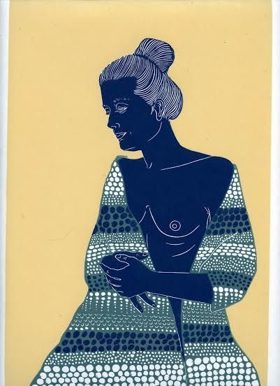 #woman with #parshmina by Ellen VW #printmaking #linocut #linoprint #ink