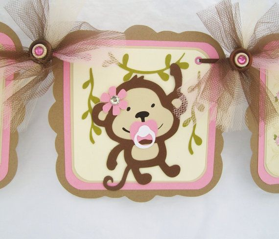 Monkey Banner, Monkey Baby Shower, Monkey Decorations, Baby Shower Banner,  Itu0027s A Girl Banner, Pink And Brown Decorations, Photo Prop