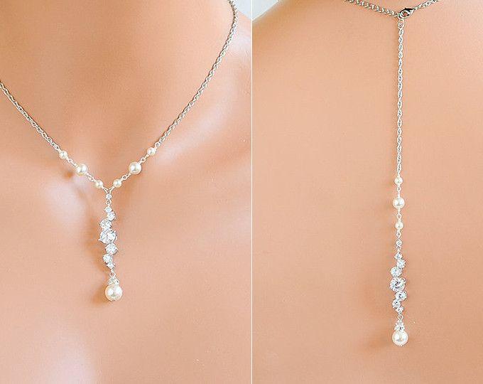 Braut Perlen-Colliers, Brautschmuck, Hintergrund Hochzeit Halskette, Swarovski Perlenkette zurück, Crystal Y zurück Drop Halskette JESSALYN