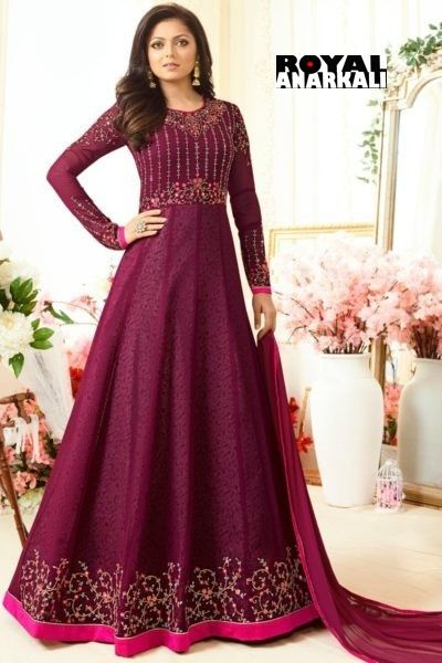 a1d8aedfb8 Georgette Purple color Embroidered Semi Stitched Party Wear Anarkali suit | Designer  Anarkali Dress Indian Fashion | Designer anarkali dresses, ...