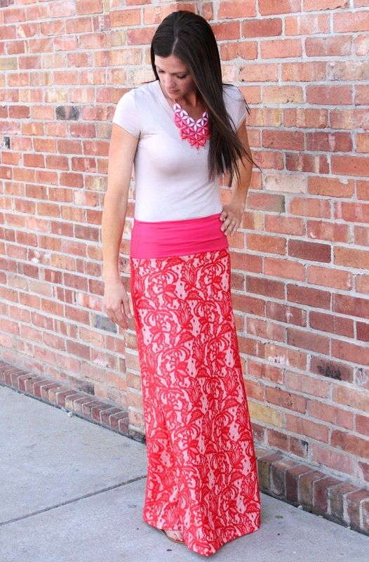 Coral Lace Maxi Skirt