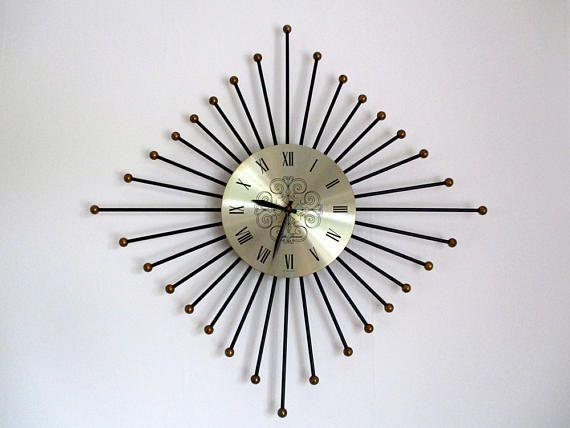 Iconic Seth Thomas Sunburst Clock - Starburst Clock - Mid Century #sunburst #starburst #sputnik #retro