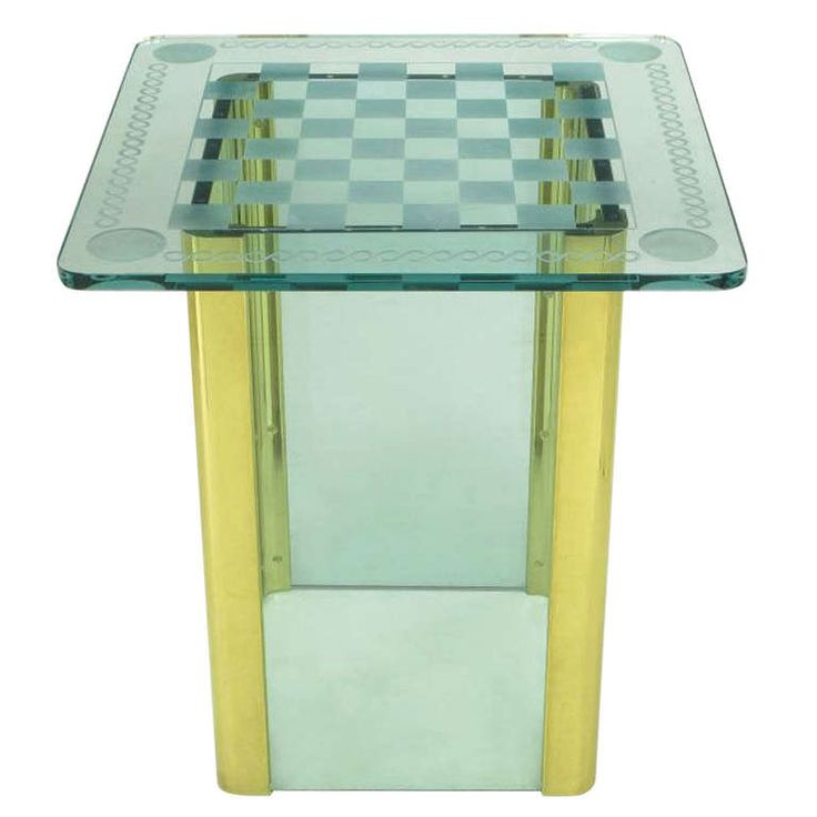 Elegant Etched Glass Game Table In The Style Of Pace Collection | From a unique collection of antique and modern game tables at https://www.1stdibs.com/furniture/tables/game-tables/