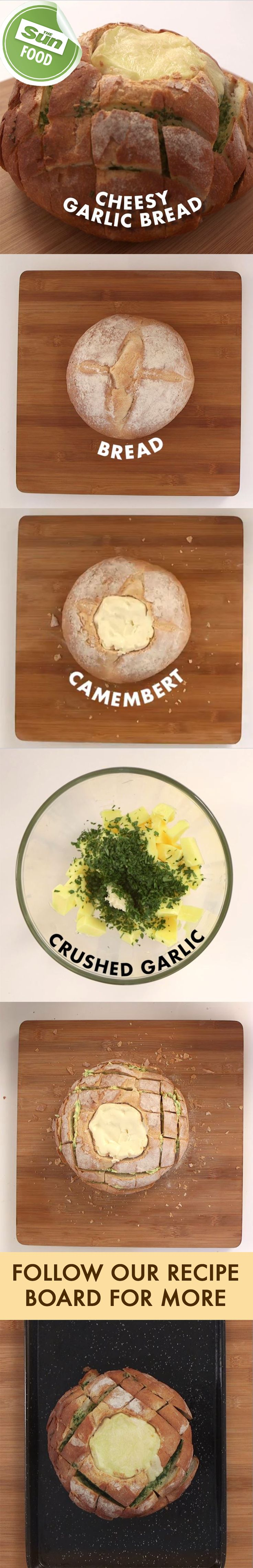 Rip and share garlic bread with camembert recipe
