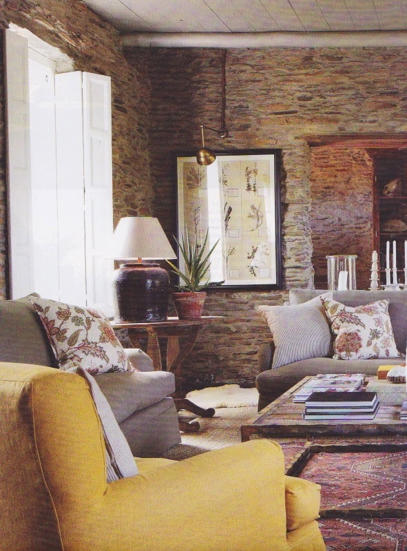 Yellow chair. Gregory Melllor-designed interior - Barrydale, South Africa. Herbarium by Kurt Pio.