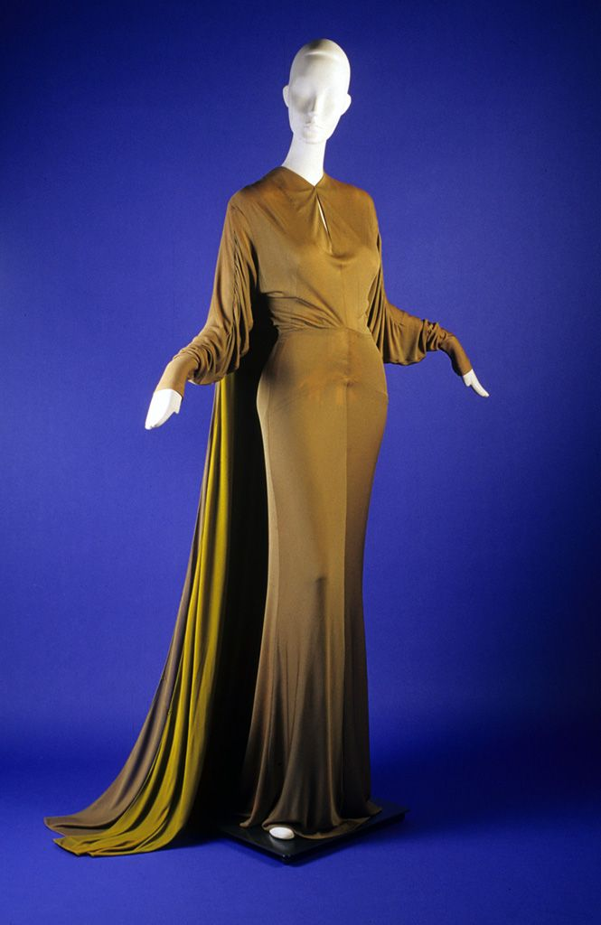 Bronze jersey evening dress with contrasting chartreuse train lining, attributed to Adrian, ca.1948-1952, KSUM 1983.1.400.: 1948 52, 1940 S, Evening Dresses, Fashion 1940S, Dresses Attributes, Mi Ascent, 1948 1952, Vintage Clothing, Bronze Jersey