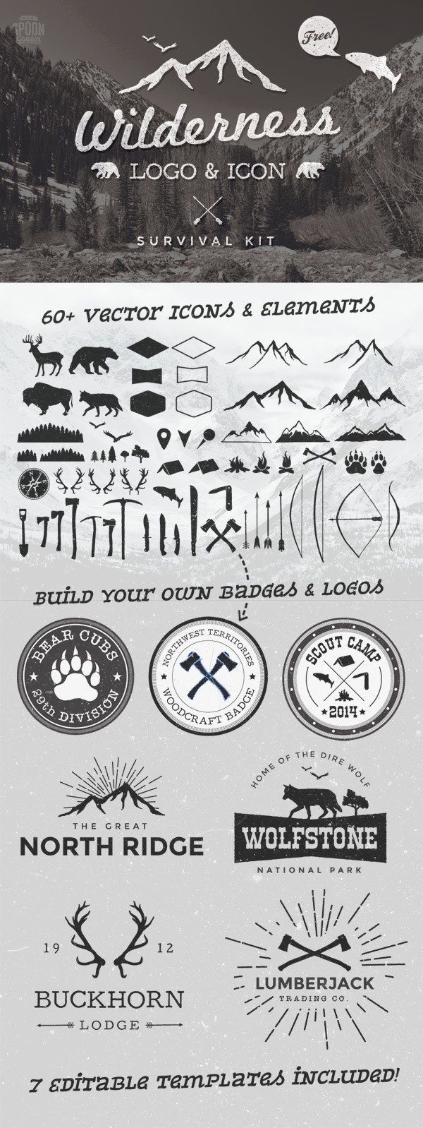 Free Wilderness Vector Graphics & Logo Template Kit