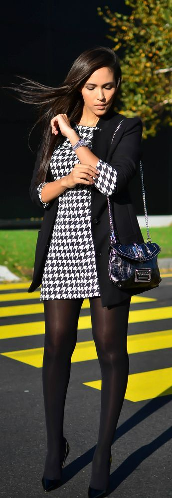 Houndstooth Dress Black Jacket Black Tights and Black High Heels