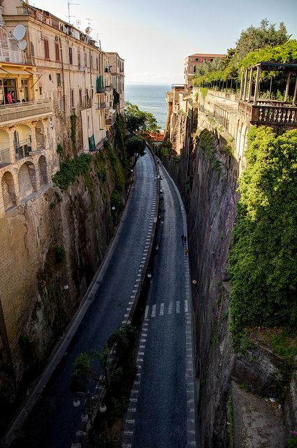 The winding road down to the Marina Piccola, Sorrento, Italy