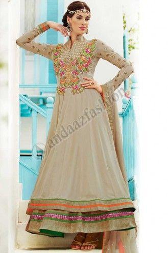 CREAM ART SILK, GEORGETTE CHURIDAR SUIT. Price:- £79.00 Design No. DMV12719,  Quick Overview:- Dress Type:Churidar Suit, Fabric:Art Silk with Georgette, Colour:             Cream, Embellishments: Embroidered, Resham, Stone, Zari work. For More Details Visit @ http://www.andaazfashion.co.uk/salwar-kameez/anarkali-suits/cream-art-silk-georgette-churidar-suit-dmv12719.html