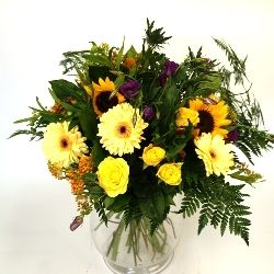 Flower Bouquet in Vibrant Yellows Oranges and Purples