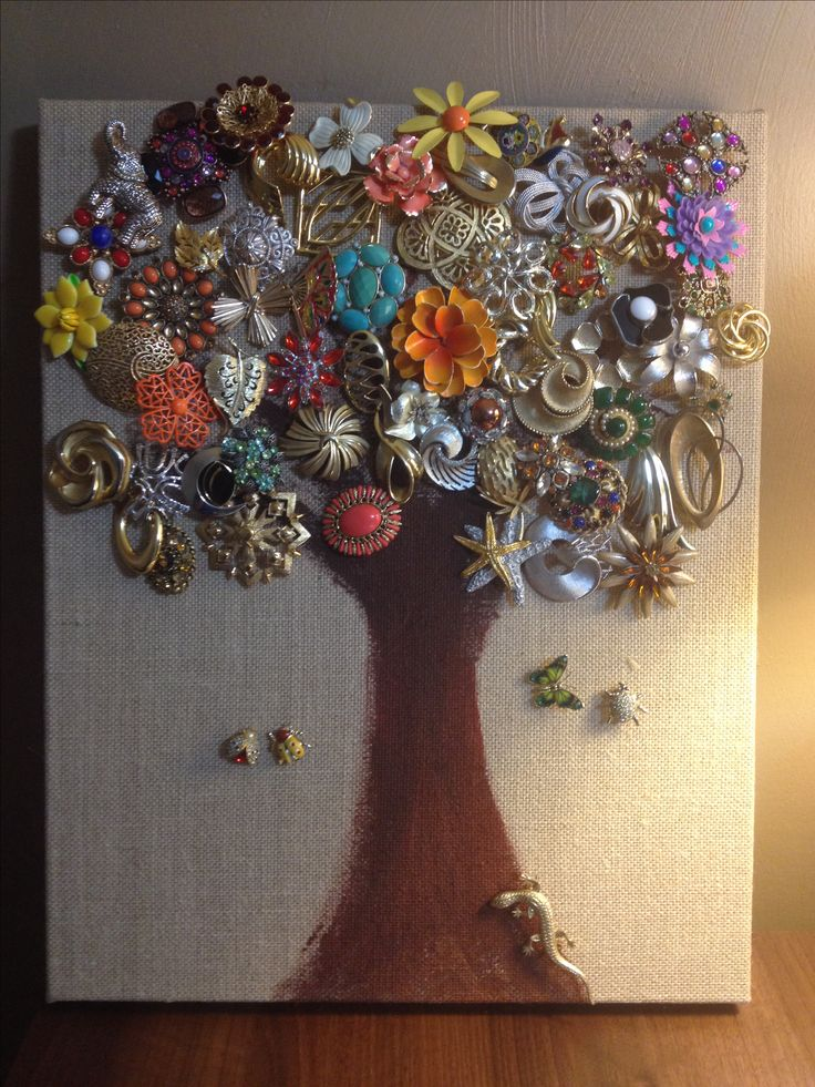 Brooch tree! I finally came up with an artistic way to display my brooch collection! I used stretched burlap from Michaels. Painted a tree and now have my brooch art brooch display!!!! Vintage brooch love! Broochaholic!