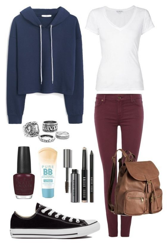 A cozy outfit that is perfect for teen girls with some feminine touches. Black skinny jeans or leggings, a plain top, a blue hoodie and sneakers. Style it up with metallic rings in different shapes, a leather backpack and… Continue Reading →