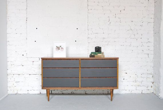 Mid Century Modern Six Drawer Dresser Credenza - Painted Black - Wood Body - 50s 60s Retro  from Etsy