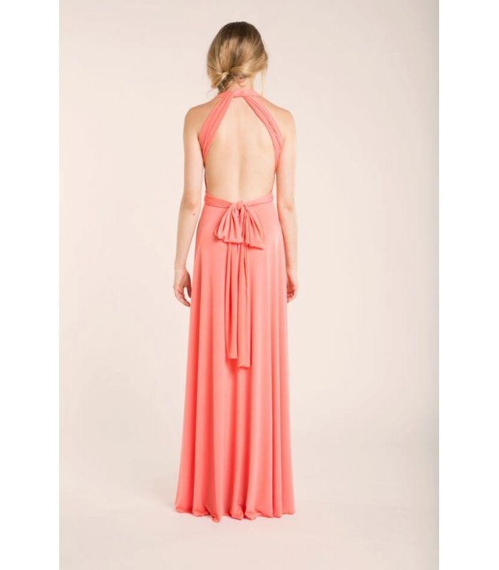 Coral bridesmaid dress, coral pink bridesmaid dress, coral wedding, coral maxi dress, salmon pink dress, rose long dress, peach