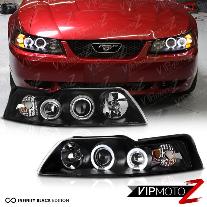 1999 2000 2001 2002 2003 2004 Ford Mustang V6 V8 Black Halo Rim Headlights Lamps #VIPMOTOZ
