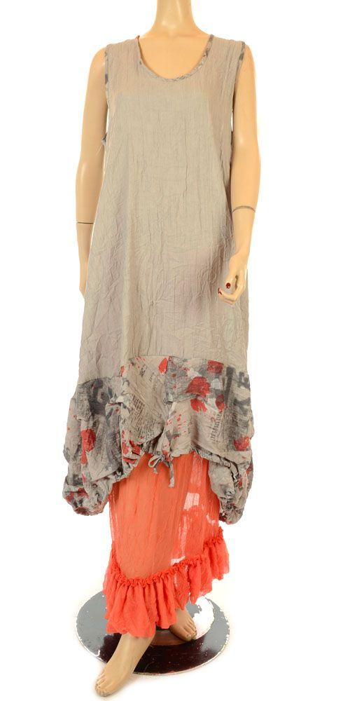 Martine Samoun Funky Grey Newsprint Collection Dress-Martine Samoun, lagenlook, womens plus size UK clothing,