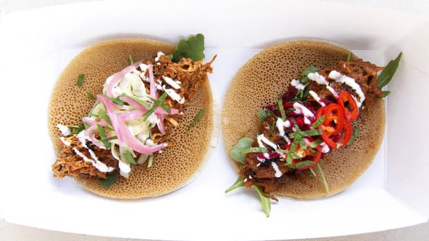 Afro-tacos, Lemlem Kitchen, Netil Market, London Fields. Subtle, sweet spices of East Africa & chilli-lime £6 for two