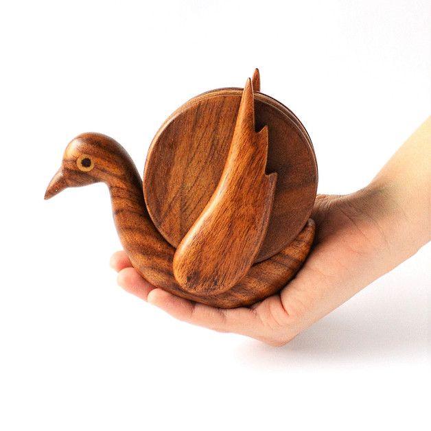 Untersetzer - Hölzerne Untersetzer-Set, Vogel - ein Designerstück von Omar-Handmade bei DaWanda